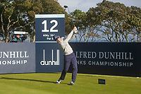 1st October 2021; Kingsbarns Golf Links, Fife, Scotland; European Tour, Alfred Dunhill Links Championship, Second round; Billy Horschel of the USA tees off on the twelfth hole at Kingsbarns Golf Links