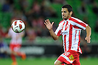 MELBOURNE, AUSTRALIA - FEBRUARY 12: Aziz Behich of the Heart controls the ball in the round 27 A-League match between the Melbourne Heart and Sydney FC at AAMI Park on February 12, 2011 in Melbourne, Australia. (Photo Sydney Low / AsteriskImages.com)