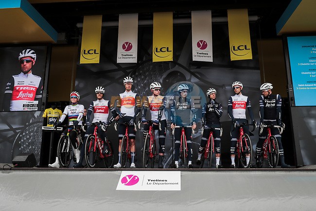 Trek-Segafredo on stage at the Team Presentation before the 78th edition of Paris-Nice 2020, Plaisir, France. 8th March 2020.<br /> Picture: ASO/Fabien Boukla | Cyclefile<br /> All photos usage must carry mandatory copyright credit (© Cyclefile | ASO/Fabien Boukla)