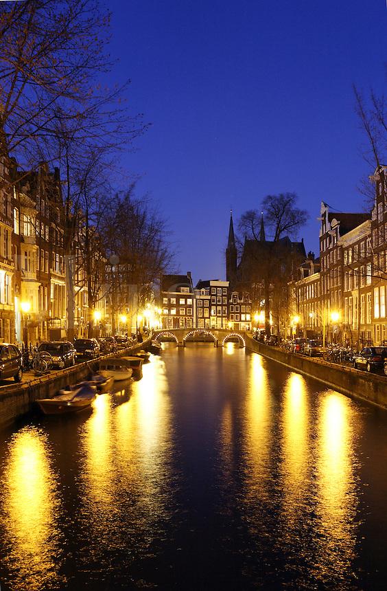 Lights along Leidsegracht canal, Amsterdam, Netherlands<br />