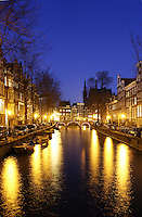 Lights along Leidsegracht canal, Amsterdam, Netherlands<br />