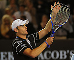 January 25, 2010.Andy Roddick, of the USA, in celebrates defeating Fernando Gonzalez 6-3, 3-6, 4-6, 7-6, 6-2 in the fourth round of The Australian Open, Melbourne Park, Melbourne, Australia.