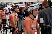 Marianne Vos (NED/Jumbo Visma) interviewed at the race start in Antwerpen<br /> <br /> Women Elite - Road Race (WC)<br /> from Antwerp to Leuven (158km)<br /> <br /> UCI Road World Championships - Flanders Belgium 2021<br /> <br /> ©kramon