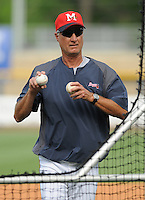 10 April 2008: Pitching coach Derek Botelho of the Mississippi Braves, Class AA affiliate of the Atlanta Braves, in a game against the Mobile BayBears at Trustmark Park in Pearl, Miss. Photo by:  Tom Priddy/Four Seam Images
