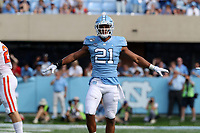 CHAPEL HILL, NC - SEPTEMBER 28: Chazz Surratt #21 of the University of North Carolina reacts after making a tackle during a game between Clemson University and University of North Carolina at Kenan Memorial Stadium on September 28, 2019 in Chapel Hill, North Carolina.