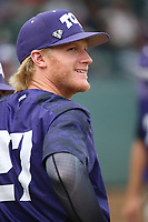 Evan Williams (27) of the TCU Horned Toads before a game against the Long Beach State Dirtbags  at Blair Field on March 14, 2017 in Long Beach, California. Long Beach defeated TCU, 7-0. (Larry Goren/Four Seam Images)