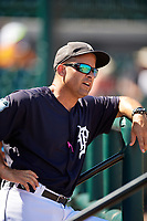 Detroit Tigers coach Mike Rabelo during an Instructional League game against the Toronto Blue Jays on October 12, 2017 at Joker Marchant Stadium in Lakeland, Florida.  (Mike Janes/Four Seam Images)