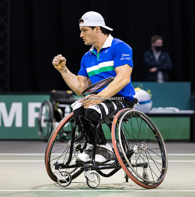 Rotterdam, The Netherlands, 5 march  2021, ABNAMRO World Tennis Tournament, Ahoy,  Second round wheelchair: Gustavo Fernando (ARG).<br /> Photo: www.tennisimages.com/