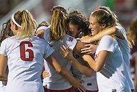 Hawgs Illustrated/BEN GOFF <br /> Carly Hoke (from left), Kayla McKeon, Tori Cannata and Stefani Doyle of Arkansas celebrate after a goal by Cannata in the second half vs Texas A&M Thursday, Sept. 20, 2018, at Razorback Field in Fayetteville.