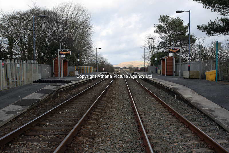 Pictured: The railway line and station running past Llangennech, west Wales. Thursday 24 February 2017<br />Re: Plans to convert Llangennech Junior School, a bilingual school to one teaching only welsh, has caused a bitter row between campaigners and politicians in Carmarthenshire, Wales, UK.