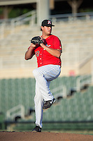 Kannapolis Intimidators relief pitcher Taylore Cherry (43) in action against the Greensboro Grasshoppers at Intimidators Stadium on July 17, 2016 in Greensboro, North Carolina.  The Grasshoppers defeated the Intimidators 5-4 in game two of a double-header.  (Brian Westerholt/Four Seam Images)