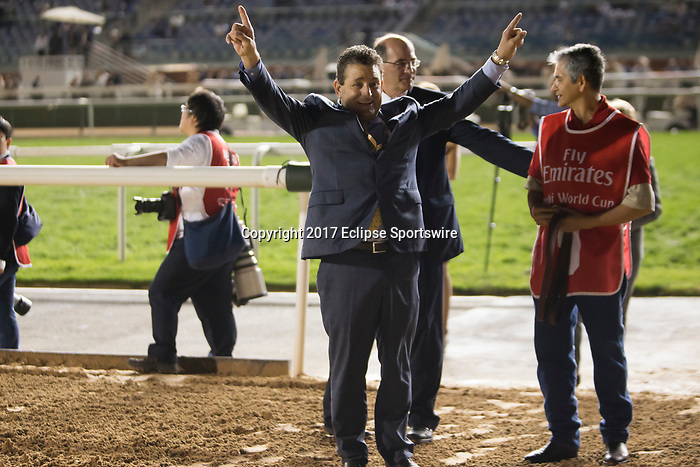 DUBAI,UNITED ARAB EMIRATES-MARCH 25: Jimmy Barns,the assistant trainer to Bob Baffert, after winning the Dubai World Cup at Meydan Racecourse on March 25,2017 in Dubai,United Arab Emirates (Photo by Kaz Ishida/Eclipse Sportswire/Getty Images)