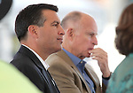 Nevada Gov. Brian Sandoval, left, and Ca. Gov. Jerry Brown listen to a speaker at the Lake Tahoe Summit at Edgewood Tahoe in Stateline, Nev., on Monday, Aug. 13, 2012. The event, in its 16th year, brings political leaders from Nevada and California together to address issues related to preserving Lake Tahoe..Photo by Cathleen Allison