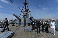 Pictured: Prince Edward is shown around the ship. Saturday 18 May 2019<br /> Re: Prince Edward, Duke of Kent visits cruiser Georgios Averof at Palaio Faliro, Athens, Greece