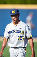 Michigan Wolverines pitcher Isaiah Paige (25) before the NCAA baseball tournament against the Connecticut Huskies on June 4, 2021 at Frank Eck Stadium in Notre Dame, Indiana. The Huskies defeated the Wolverines 6-1. (Andrew Woolley/Four Seam Images)