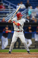 Auburn Doubledays first baseman David Kerian (21) at bat during a game against the Batavia Muckdogs on July 8, 2015 at Dwyer Stadium in Batavia, New York.  Batavia defeated Auburn 4-1.  (Mike Janes/Four Seam Images)