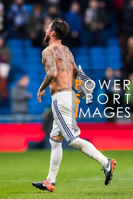 Sergio Ramos of Real Madrid takes off his jersey as he celebrates the victory during their La Liga match between Real Madrid and Real Sociedad at the Santiago Bernabeu Stadium on 29 January 2017 in Madrid, Spain. Photo by Diego Gonzalez Souto / Power Sport Images