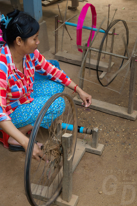 Silk Island outside Phnom Penh, Cambodia. Traditional Khmer Silk production