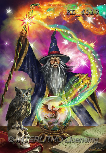 Interlitho-Marcello, MODERN, MODERNO, paintings+++++,magician,KL4517,#n#, EVERYDAY,wizard,owlm,dragon,puzzles,fantasy