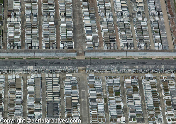 aerial photograph of above ground tombs in a cemetery in New Orleans, Louisiana