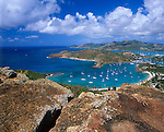 Antigua, West Indies  <br /> View of English Harbor and distant Falmount Harbor from Shirley Heights - Leeward Caribbean Islands