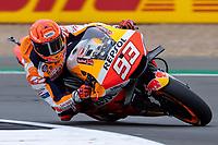 27th August 2021; Silverstone Circuit, Silverstone, Northamptonshire, England; MotoGP British Grand Prix, Practice Day; Repsol Honda Team rider Marc Marquez on his Honda RC213V