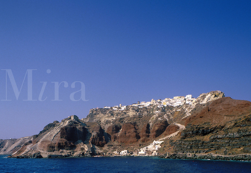 The Old Port at sea-level, and the main town of Thira, or Fira, on the island of Santorini, Greece.