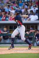 Buddy Reed (3) of the US Collegiate National Team follows through on his swing against the Cuban National Team at BB&T BallPark on July 4, 2015 in Charlotte, North Carolina.  The United State Collegiate National Team defeated the Cuban National Team 11-1.  (Brian Westerholt/Four Seam Images)