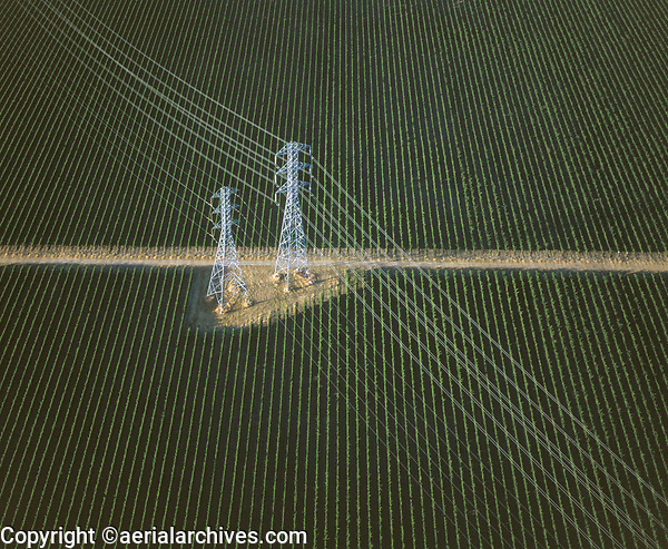 aerial photograph of electrical transmission powerlines and towers in California's Central Valley