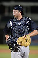 Tampa Yankees catcher Kyle Higashioka (25) during a game against the Fort Myers Miracle on April 15, 2015 at Hammond Stadium in Fort Myers, Florida.  Tampa defeated Fort Myers 3-1 in eleven innings.  (Mike Janes/Four Seam Images)