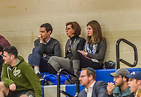 22 November 2015: Yeshiva University Maccabees basketball fans Josh Wolfstein (left), Sally Herschorn, and YU Beren Campus SAAC President Shana Wolfstein enjoy a game against the Hunter College Hawks at the Max Stern Athletic Center  in New York, NY. The Maccabees defeated the Hawks 81-71 in non-conference play, for their second win of the season. Mandatory Credit: Ed Wolfstein Photo *** RAW (NEF) Image File Available ***