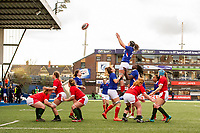 Celine Ferer of France claims the lineout during the Women's Six Nations Championship Round 3 match between Wales and France at the Cardiff Arms Park in Cardiff, Wales, UK. Sunday 23 February 2020
