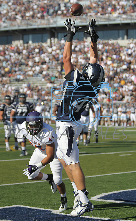 Nevada's Zach Sudfeld (44) attempts a touchdown catch against Northwestern State  during the first half of an NCAA college football game Saturday, Sept. 15, 2012, in Reno, Nev. (AP Photo/Cathleen Allison)