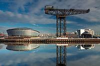 The Stobcross (Finnieston Crane), the SSE Hydro and the River Clyde, Pacific Quay, Glasgow