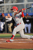 Catcher Andrew Knizner (48) of the Johnson City Cardinals bats in a game against the Danville Braves on Friday, July 1, 2016, at Legion Field at Dan Daniel Memorial Park in Danville, Virginia. Johnson City won, 1-0. (Tom Priddy/Four Seam Images)