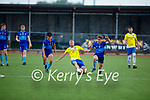 Brendan Smith of Classic gets to the ball ahead of Cian Wright and Dean McAullife of Dingle Bay Rovers in the Denny KDL Challenge Cup