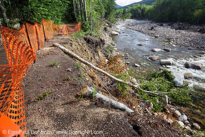 August 2013 - Trail washout along the Lincoln Woods Trail next to the East Branch of the Pemigewasset River in Lincoln, New Hampshire USA from Tropical Storm Irene in 2011. This tropical storm caused destruction along the East coast of the United States and the White Mountain National Forest of New Hampshire was officially closed during the storm.