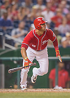 23 July 2016: Washington Nationals infielder Danny Espinosa watches the trajectory of his lead-off double in the 5th inning against the San Diego Padres at Nationals Park in Washington, DC. The Nationals defeated the Padres 3-2 to tie their series at one game apiece. Mandatory Credit: Ed Wolfstein Photo *** RAW (NEF) Image File Available ***