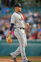 Tacoma Rainiers starting pitcher Justus Sheffield (10) during the game against the Salt Lake Bees at Smith's Ballpark on May 27, 2019 in Salt Lake City, Utah. The Bees defeated the Rainiers 5-0. (Stephen Smith/Four Seam Images)
