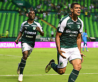 PALMIRA - COLOMBIA, 27-10-2018: Jose Sand (Der) jugador del Deportivo Cali celebra después de anotar el cuarto gol de su equipo a Jaguares de Córdoba durante partido por la fecha 17 de la Liga Águila II 2017 jugado en el estadio Palmaseca de la ciudad de Palmira. / Jose Sand (R) player of Deportivo Cali celebrates after scoring the fourth goal of his team to Jaguares de Cordoba during match for the date 17 of the Aguila League II 2017 played at Palmaseca stadium in Palmira city.  Photo: VizzorImage/ Nelson Rios / Cont