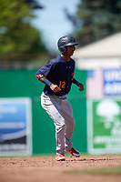 State College Spikes center fielder Wadye Ynfante (12) leads off second base during a game against the Batavia Muckdogs on July 8, 2018 at Dwyer Stadium in Batavia, New York.  Batavia defeated State College 8-3.  (Mike Janes/Four Seam Images)