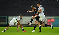 8th October 2021;  Swansea.com Stadium, Swansea, Wales; United Rugby Championship, Ospreys versus Sharks; Tiaan Thomas-Wheeler of Ospreys kicks into space
