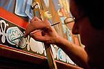 "St. Sava frescos by Miloje Milinkovic..Slobodan ""Kiko"" Kikovic' paints the border"