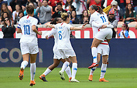 Houston, TX - Sunday April 8, 2018: Mallory Pugh scores a goal and celebrates with her teammates during an International friendly match versus the women's National teams of the United States (USA) and Mexico (MEX) at BBVA Compass Stadium.