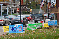 Campaign signs are placed in front yards and on street corners as the  final week before the November general election concludes a campaign season advocating tax increases, school board changes, repeal of a state law and the admonition to forbid Federal Health Care requirements.