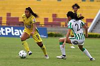 BUCARAMANGA- COLOMBIA, 01-08-2021: Atletico Bucaramanga y Atletico Nacional durante partido de la Fase de Grupos de la fecha 5 por la Liga Femenina BetPlay DIMAYOR 2021 jugado en el estadio Alfonso Lopez en la ciudad de Bucaramanga. / Atletico Bucaramanga and Atletico Nacional during a match of the Group Phase the 5th date for the Women's League BetPlay DIMAYOR 2021 played at the Alfonso Lopez stadium in Bucaramanga city. / Photo: VizzorImage / Jaime Moreno / Cont.