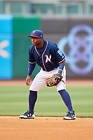 Northwest Arkansas Naturals second baseman Ruben Sosa (4) during a game against the Midland RockHounds on May 27, 2017 at Arvest Ballpark in Springdale, Arkansas.  NW Arkansas defeated Midland 3-2.  (Mike Janes/Four Seam Images)