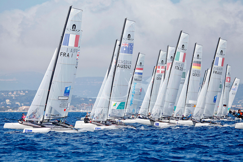 ISAF Sailing World Cup Hyères - Fédération Française de Voile. Nacra17, Besson, Riou.
