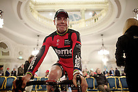 Cadel Evans (AUS/BMC) relaxed and accesable before going out to confront the Belfast crowd<br /> <br /> Giro d'Italia 2014<br /> Opening Ceremony