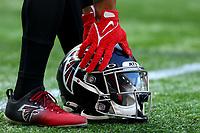 10th October 2021; Tottenham Hotspur stadium, London, England; NFL UK Series, Atlanta Falcons versus New York Jets: Atlanta Falcons Running back Mike Davis (28) collects his helmet